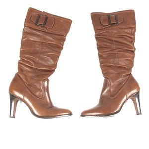 MATISSE boots 6 brown slouchy buckles knee high